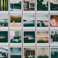 Photograph of collection of photographs, snippets of life.