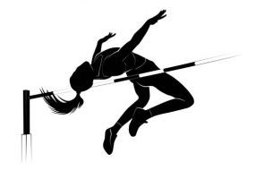 Vector silhouette female athlete jumping over the bar. High jump athletic competition background
