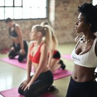body image, women doing yoga